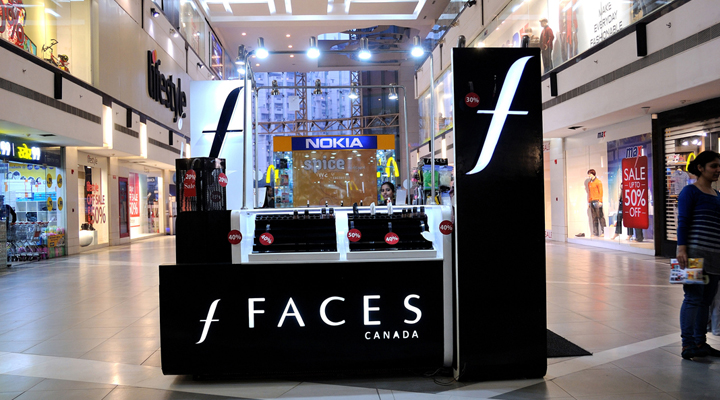 Redifining Display Identity + Environment Design Planograming + Design Template + Production + Pan-India Project Management & Implementation, Faces Canada Kiosk at Select CityWalk
