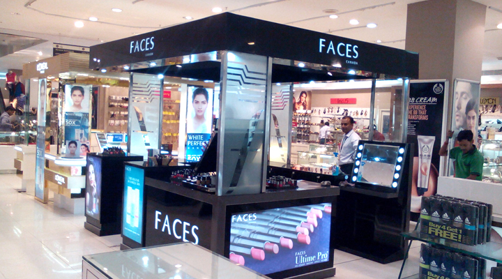 Redifining Display Identity + Environment Design Planograming + Design Template + Production + Pan-India Project Management & Implementation, Faces Canada Kiosk at Lucknow