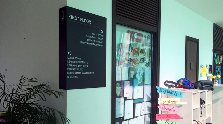 Signage Conceptualization & Design + Material Planning & Engineering + Production + Implementation for The British School